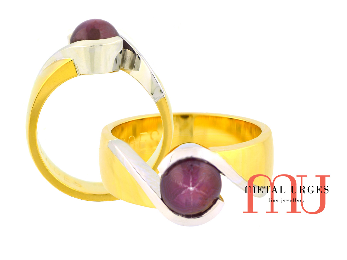 Star ruby engagement ring in 18ct white and yellow gold. Custom made in Australia.