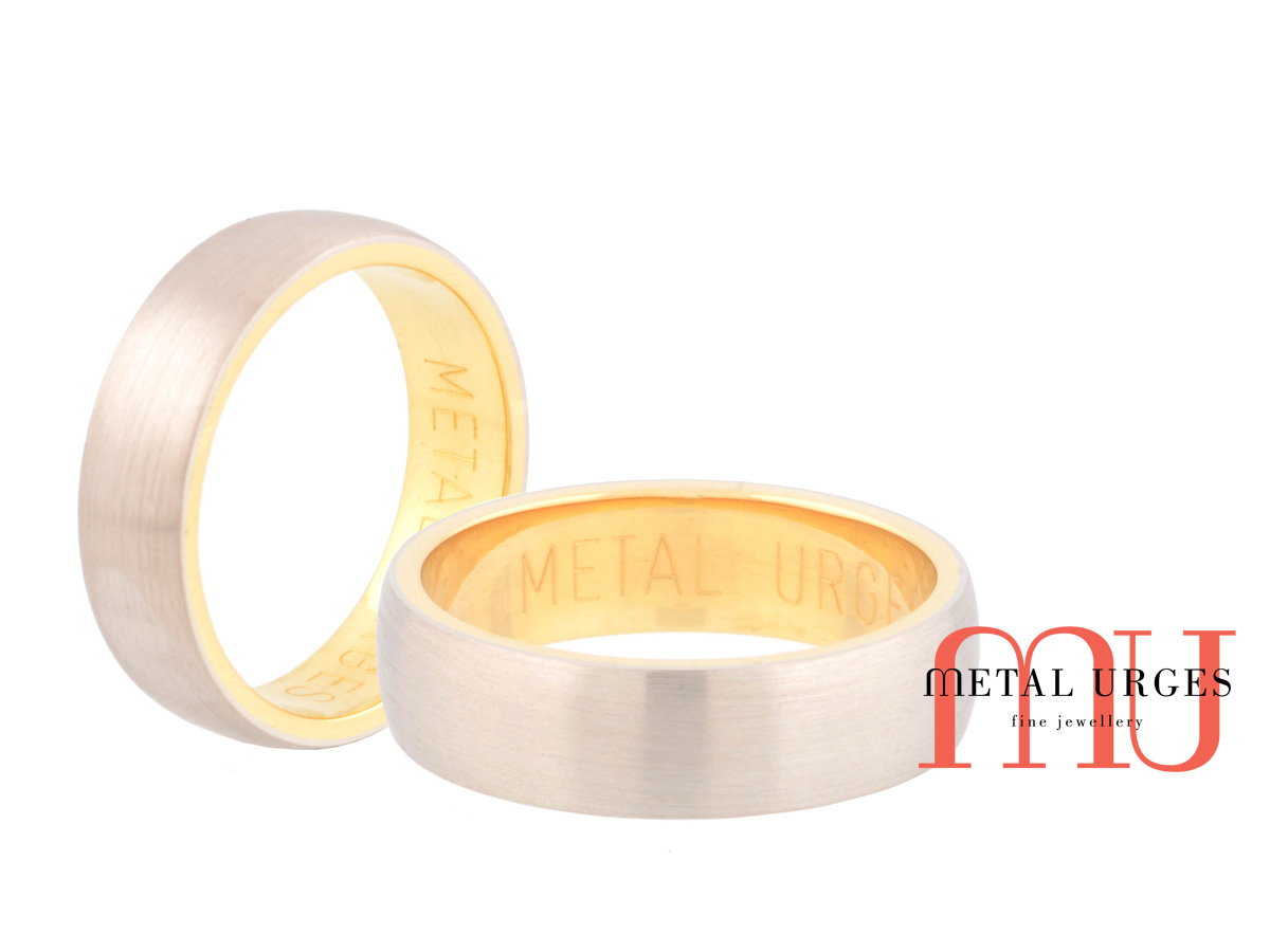 Matte finished titanium and 18ct yellow gold wedding ring. Custom made in Australia.