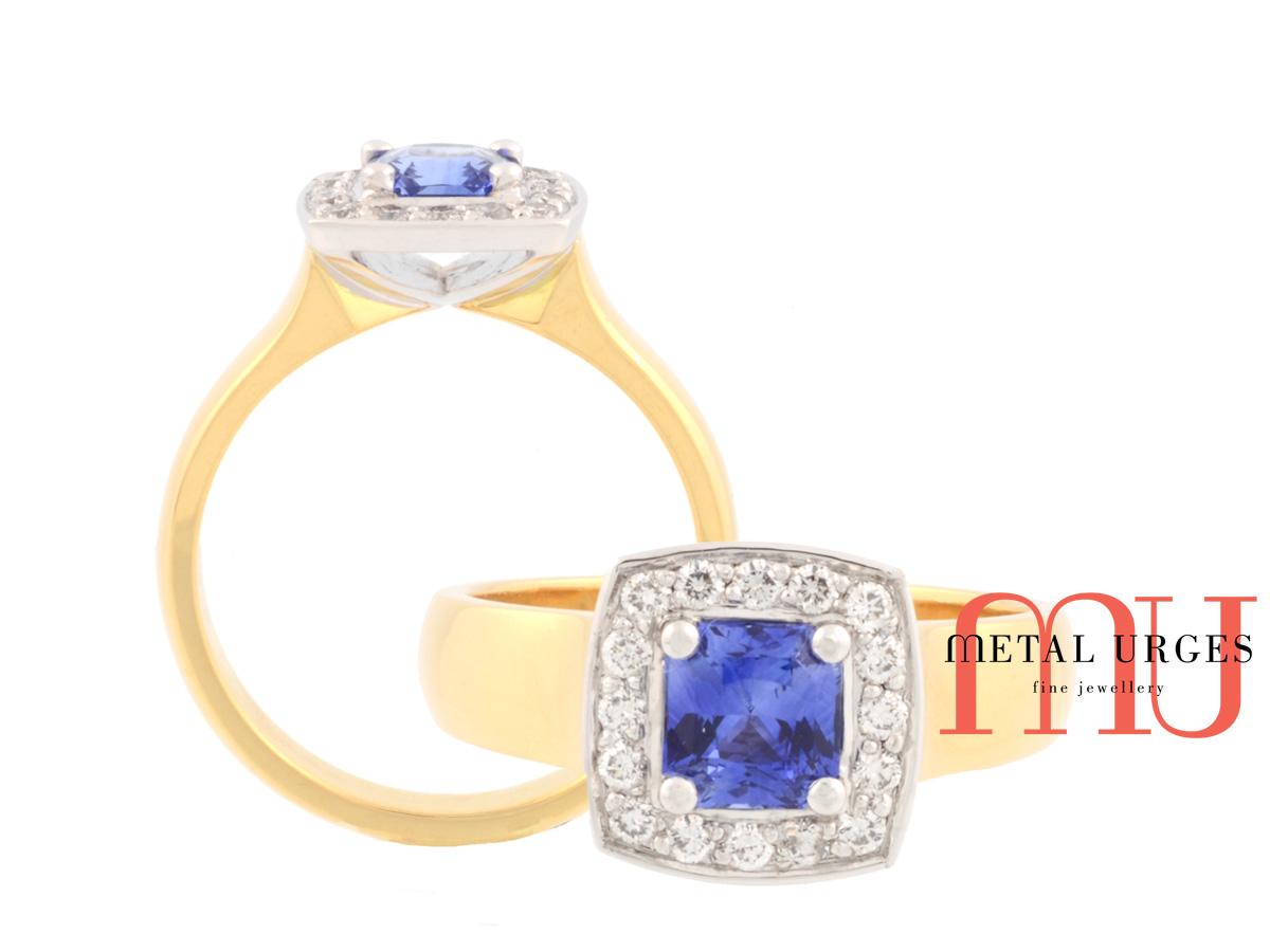 Blue sapphire and white diamond engagement ring. Handmade by our Jewellers, in Hobart Tasmania.