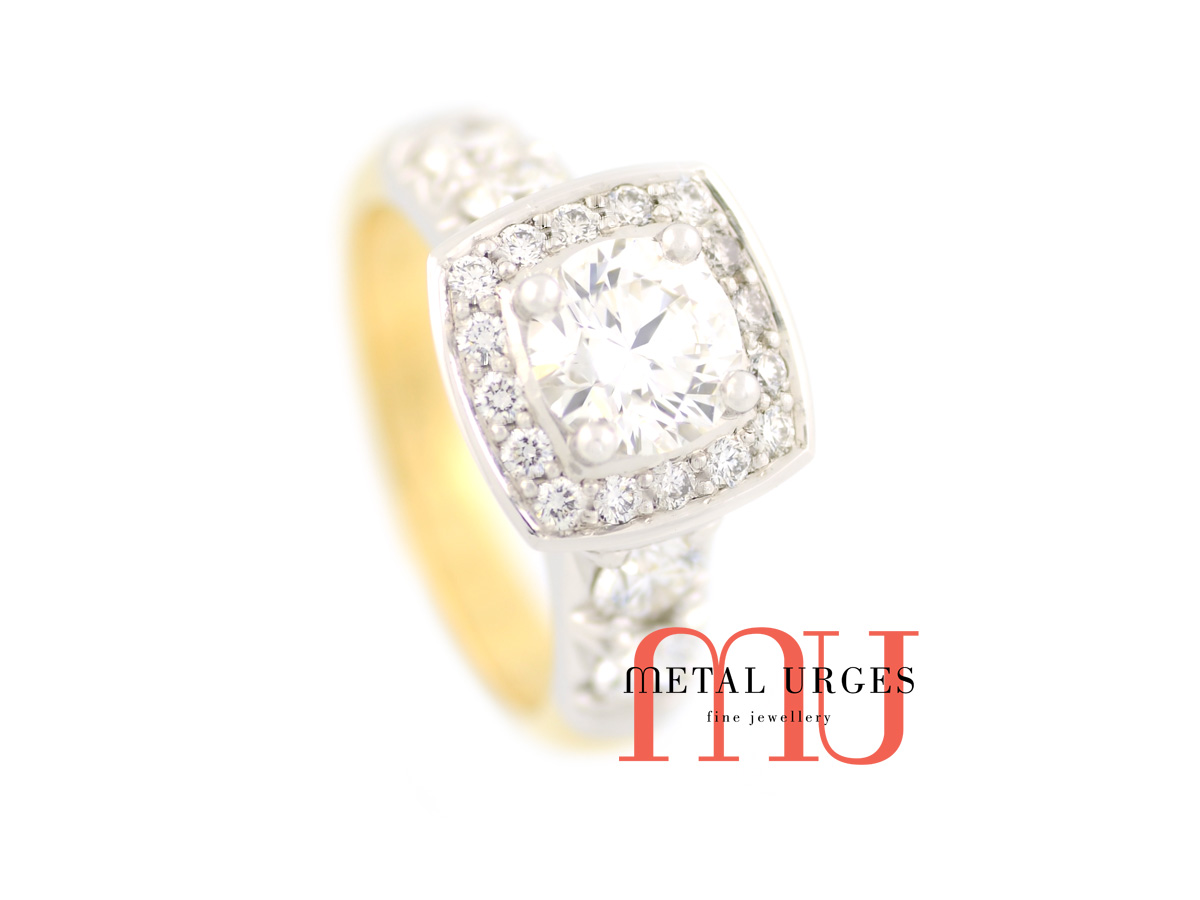 18ct white and yellow gold, round brilliant cut white diamond halo cluster ring.  Custom made in Hobart.