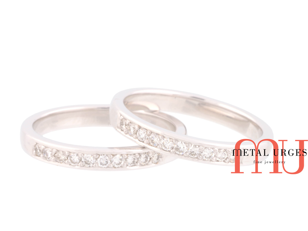 white and platinum wedding rings custom made in