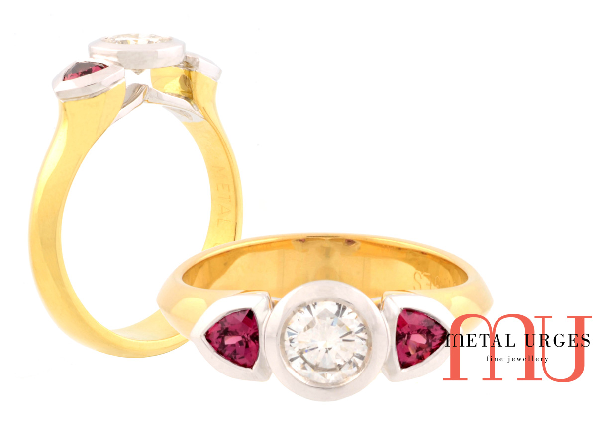 Diamond and raspberry red sapphire ring in 18ct white and yellow gold. Hand made in Australia.