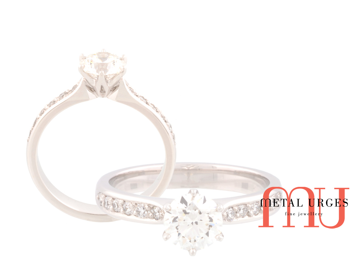 GIA certified round cut white diamond engagement ring in platinum.  Hand made in Hobart.