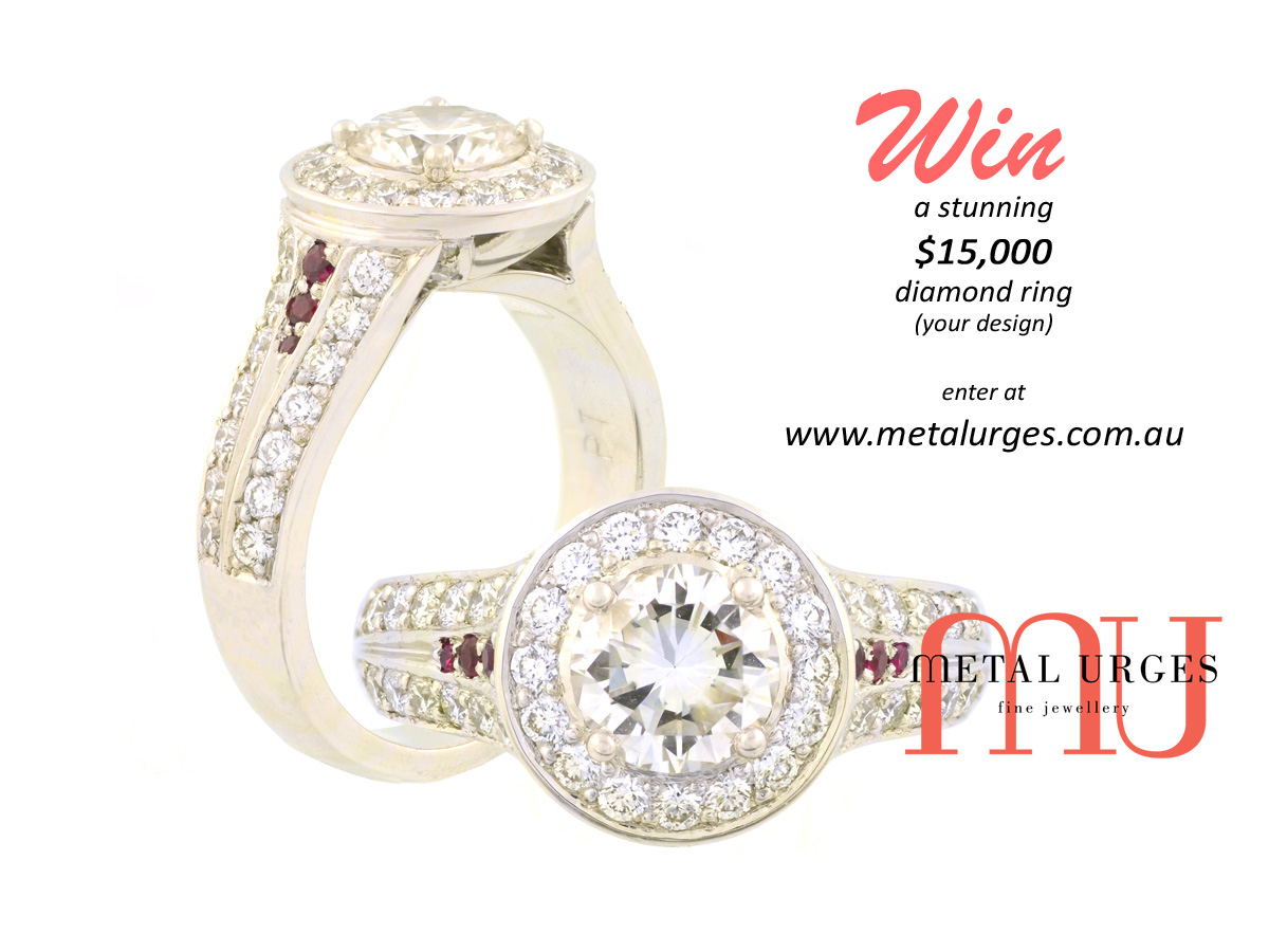 win a stunning $15,000 diamond ring of your design. custom made in