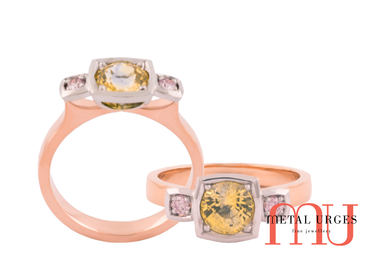 Trilogy of framed yellow sapphire and pink diamond.