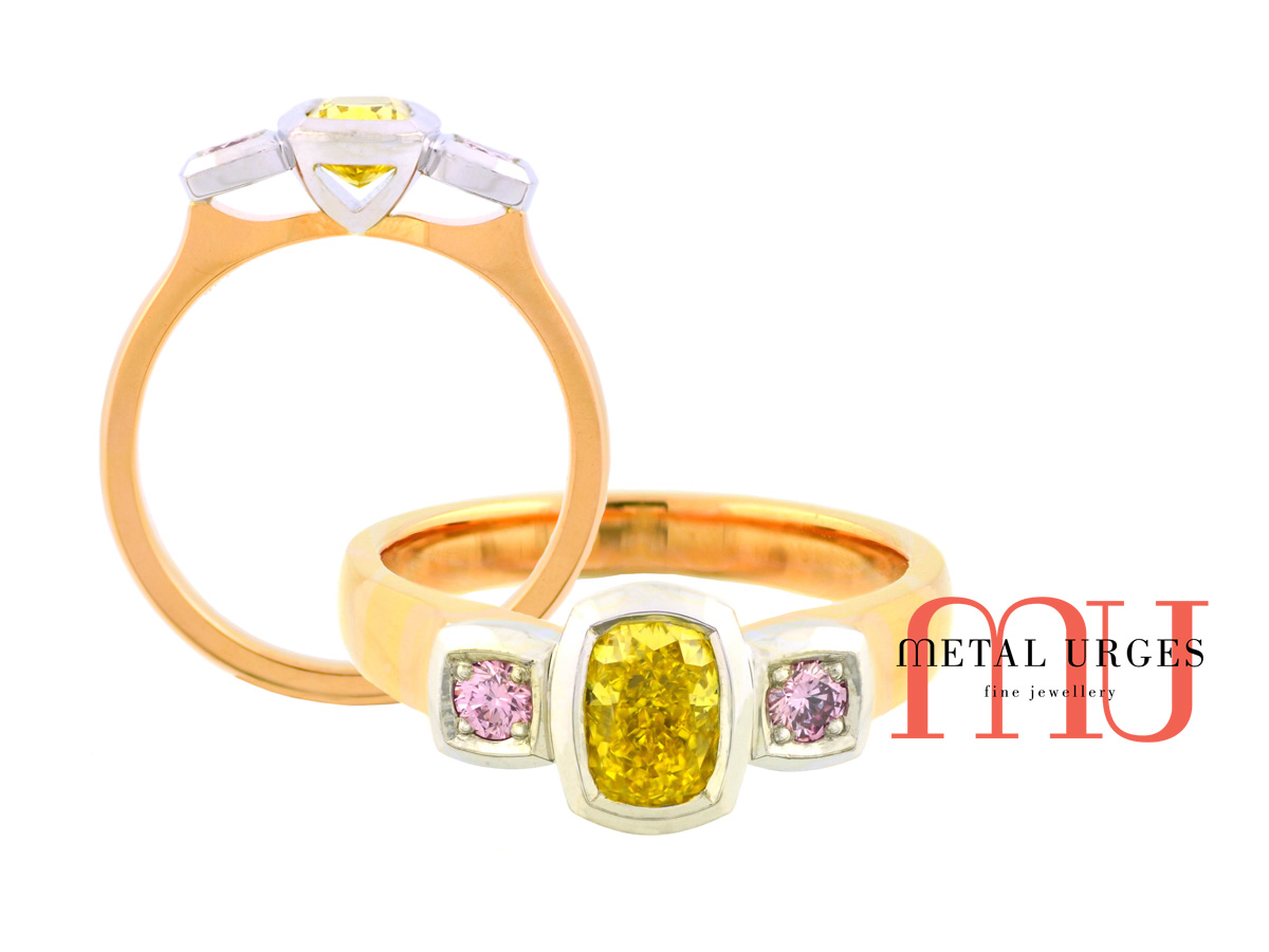 Canary yellow and Argyle pink diamond engagement ring. Custom made by our Jewellers, in Hobart, Tasmania