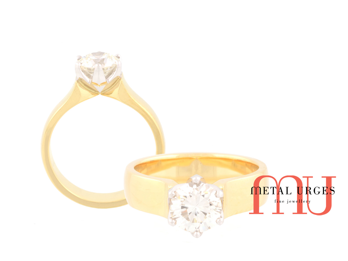 Round brilliant cut white diamond engagement ring with 18ct yellow gold band. Hand made in Hobart.